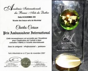 Musée des beaux-art de Montréal ACADEMIA XXI - Charles Carson reçoit des mains de Anne Richer le Prix Ambassadeur International 2007