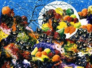 13 - Charles Carson - Éclipse de fruits - 76 X 102 cm - Acrylique sur toile - Mouvement CARSONISME