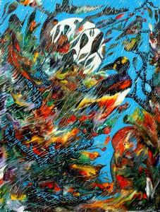 Chant tropical au clair de lune - Oeuvre Carsonisme - 40 x 30 po Acrylique sur toile