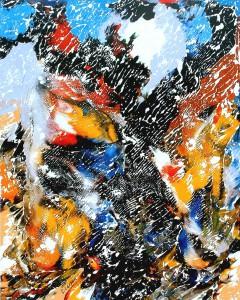 Chasse et pêche - Oeuvre Carsonisme - 20 x 16 po - Acrylique sur toile