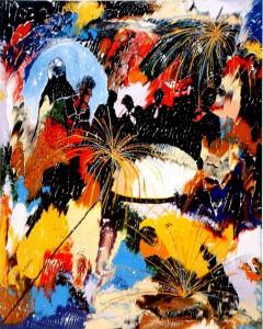 Le cirque de Shanghai - Oeuvre Carsonisme - 30 x 24 po - Acrylique sur toile