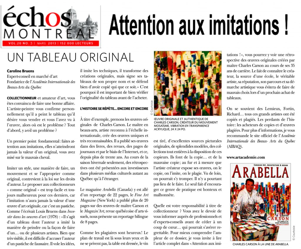 Attention aux imitations ! Caroline Bruens expert en arts