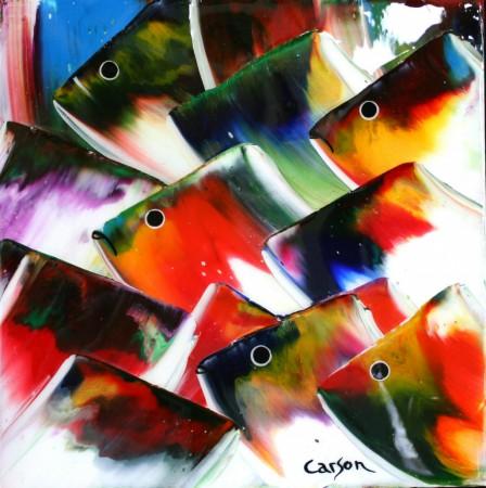 91 - Charles Carson - Blue fish - 12 x 10 po - Mosaïque poisson